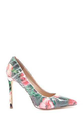 Forever 21 Lemon Drop by Privileged Tropical Floral Pumps  Pink/multi - GOOFASH