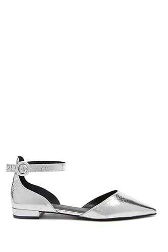 Forever 21 Metallic Faux Leather Flats  Silver GOOFASH 2000323671010
