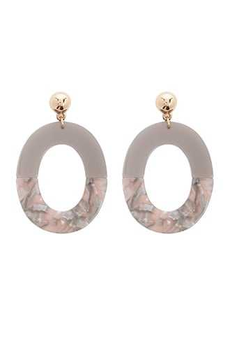 Forever 21 Oval Drop Earrings  Gold/grey GOOFASH 1000328228011