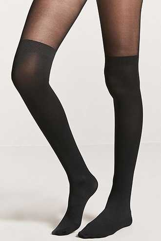 Forever 21 Partial Opaque Tights Black GOOFASH 2000327061022