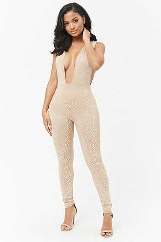 Forever 21 Plunging Studded Jumpsuit  Nude - GOOFASH