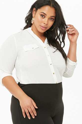 Forever 21 Plus Size Button-Front Collared Shirt  Ivory GOOFASH 2000331646024