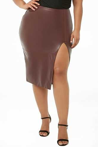 Forever 21 Plus Size Faux Leather Skirt  Aubergine GOOFASH 2000292088022