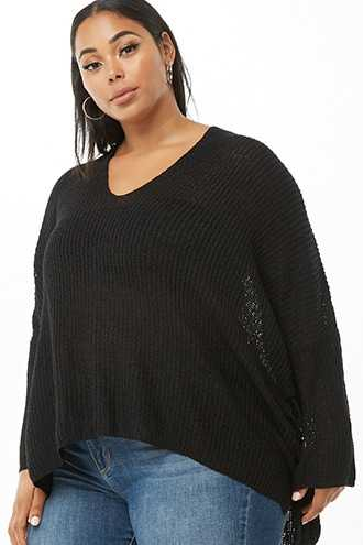 Forever 21 Plus Size Lace-Up Sweater  Black - GOOFASH
