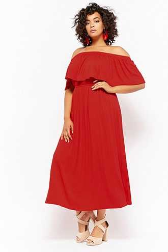 Forever 21 Plus Size Off-the-Shoulder Flounce Maxi Dress  Red GOOFASH 2000287693032