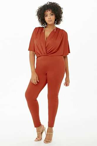Forever 21 Plus Size Plunging Tapered Jumpsuit  Rust GOOFASH 2000302899024