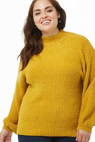 Forever 21 Plus Size Ribbed Loop-Knit Sweater  Mustard - GOOFASH
