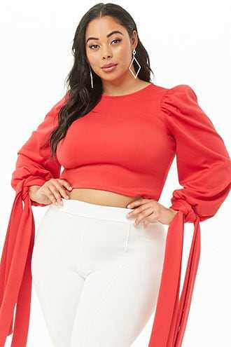 Forever 21 Plus Size Sash-Sleeve Top  Red GOOFASH 2000339973024