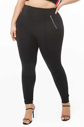 Forever 21 Plus Size Seam Leggings Black - GOOFASH