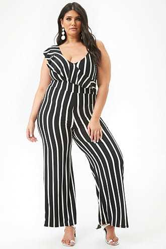 a3845614c2d Forever 21 Plus Size Striped One-Sleeve Jumpsuit Black white GOOFASH  2000299217014
