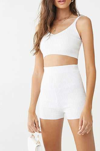 Forever 21 Ribbed Cropped Cami & Shorts Set White - GOOFASH