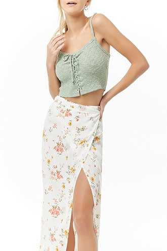d2476df53a1 Forever 21 Ribbed Lace-Up Cropped Cami Seafoam GOOFASH 2000337825044