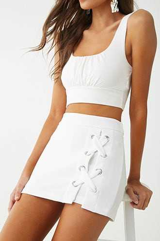 bc7e9022b8a Forever 21 Ribbed Lace-Up Skort Ivory | GOOFASH SHOP