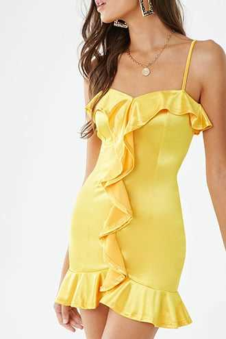 Forever 21 Satin Ruffle-Trim Mini Dress  Mustard - GOOFASH