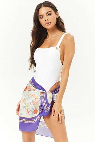 Forever 21 Sea Scarf Print Sarong Swim Cover-Up  Mint/multi GOOFASH 2000283795011