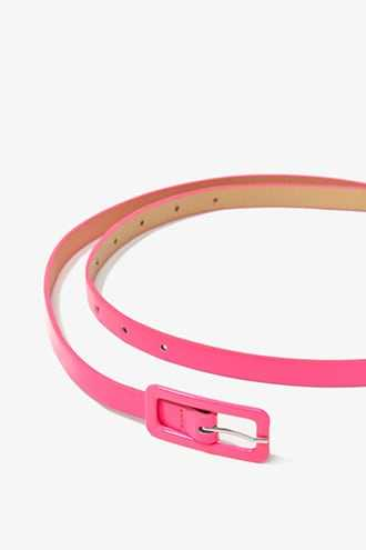 Forever 21 Skinny Faux Leather Belt  Pink - GOOFASH