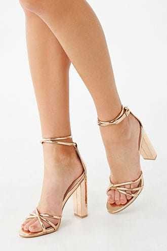 Forever 21 Strappy Block Heels  Rose Gold - GOOFASH