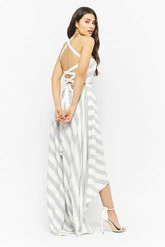 Forever 21 Striped Lace-Up Back High-Low Dress  Grey GOOFASH 2000284872012