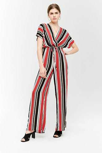 Forever 21 Striped Plunging Surplice Jumpsuit  Red/nude GOOFASH 2000246313012