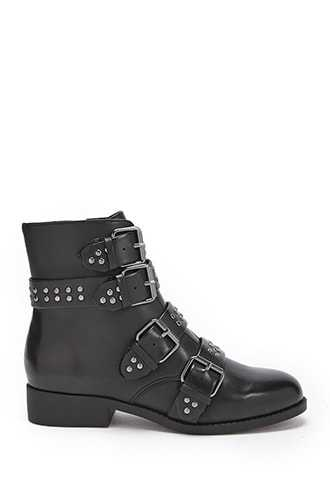 Forever 21 Studded Buckle Strap Combat Boots  Black GOOFASH 2000302451012