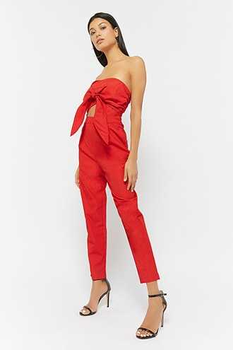 Forever 21 Textured Tie-Front Strapless Jumpsuit  Red GOOFASH 2000259098014