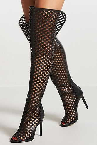 Forever 21 Thigh-High Caged Cutout Boots  Black GOOFASH 2000143970015