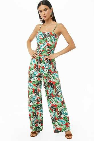Forever 21 Tropical Leaf Print Jumpsuit  Red/green - GOOFASH