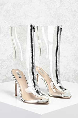 Forever 21 Zipped Clear Stiletto Boots  Silver GOOFASH 2000113747014