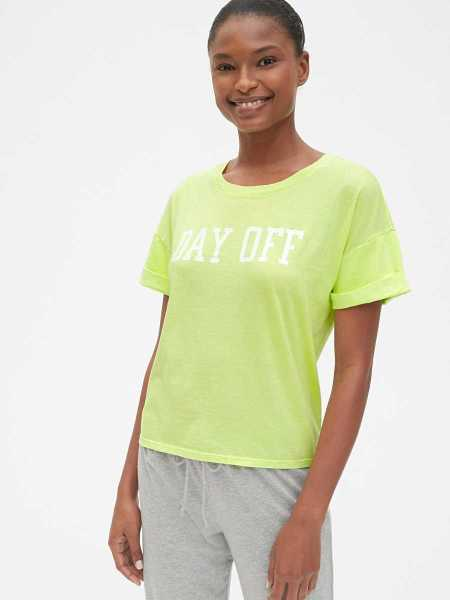 Forever Favorite Roll Sleeve Graphic T-Shirt Superlime - Gap - GOOFASH