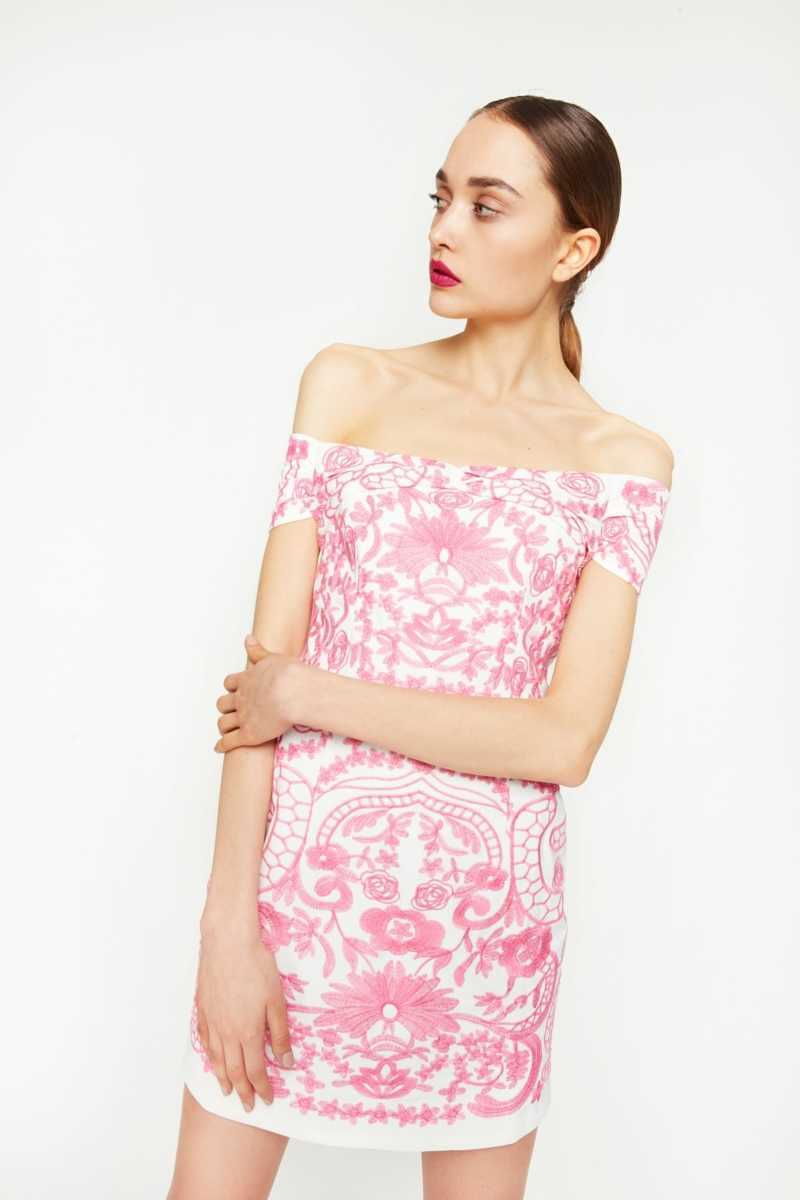 Foxie Dox Off-The-Shoulder Embroidered Mini Dress - Own The Look - GOOFASH
