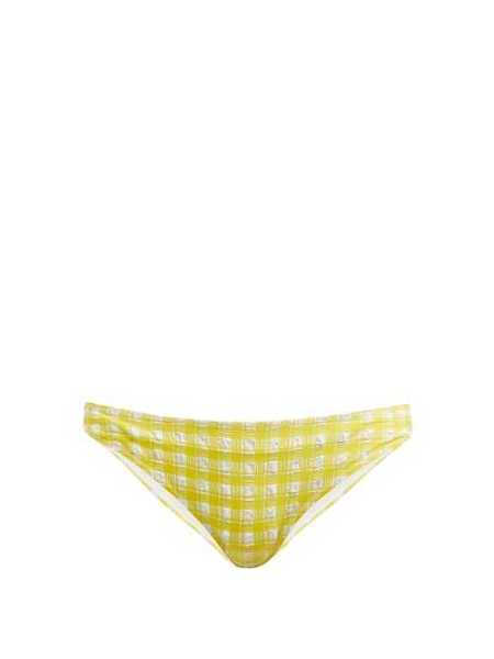 Ganni - Mahogany Checked Bikini Briefs - Yellow Yellow - Matches Fashion - GOOFASH