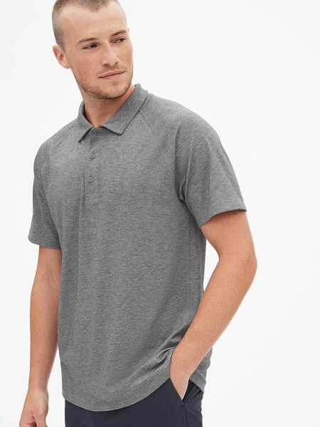 GapFit Breathe Pique Polo Shirt Shirt Grey - Gap - GOOFASH
