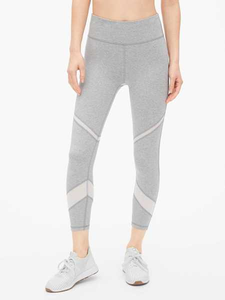 GapFit Mesh Spliced 7/8 Leggings in Organic Cotton Medium Grey - Gap - GOOFASH