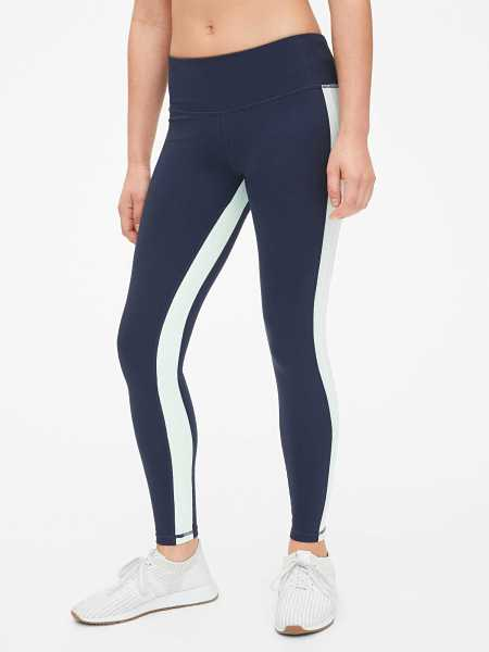 GapFit Side-Stripe Panel Full Length Leggings in Eclipse Crayon True Indigo - Gap - GOOFASH