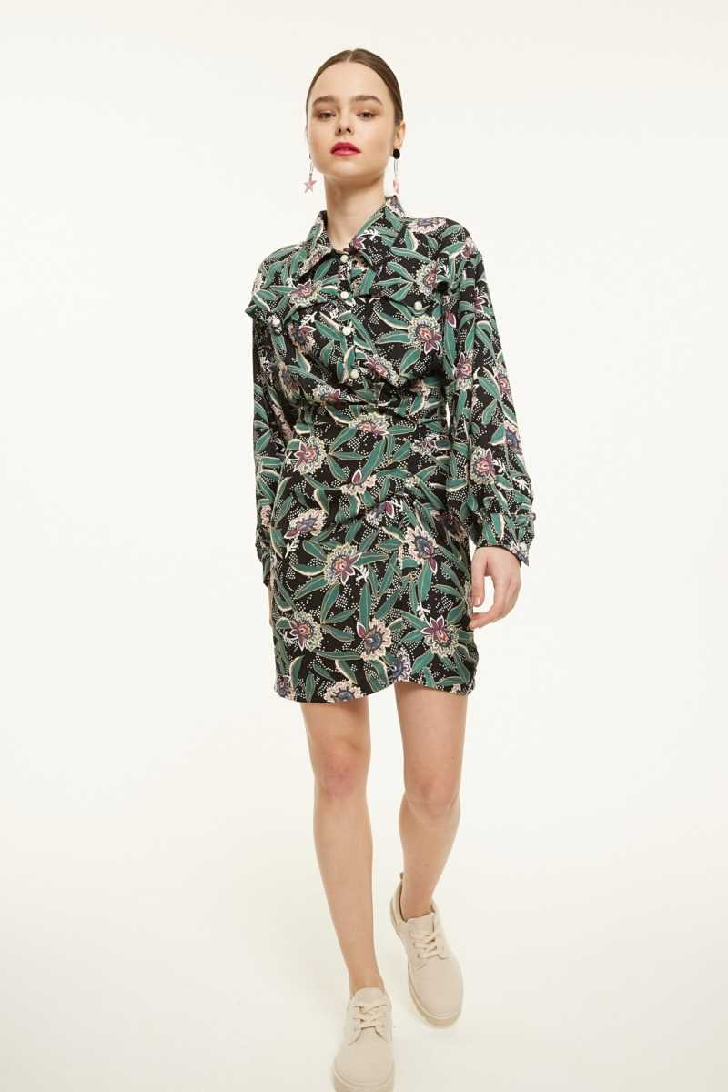 Ghospell Patterned Mini Shirt Dress  - Green - Own The Look - GOOFASH