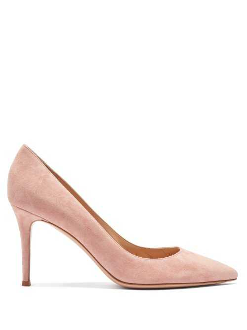 Gianvito Rossi - Gianvito 85 Point Toe Suede Pumps - Pink Pink - Matches Fashion - GOOFASH