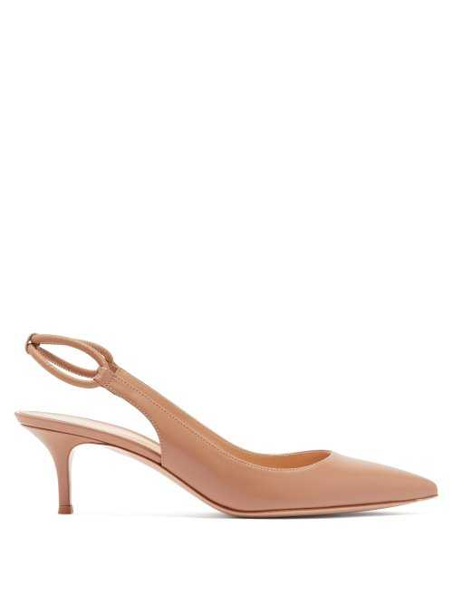 Gianvito Rossi - Pointed Toe Slingback Leather Pumps - Beige Beige - Matches Fashion - GOOFASH
