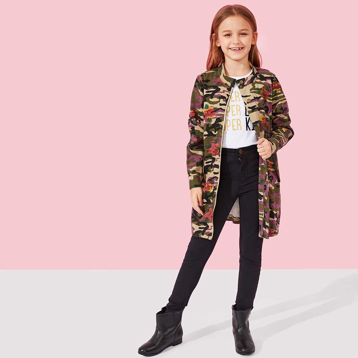 Girls Button Up Camo and Floral Print Jacket - Shein - GOOFASH
