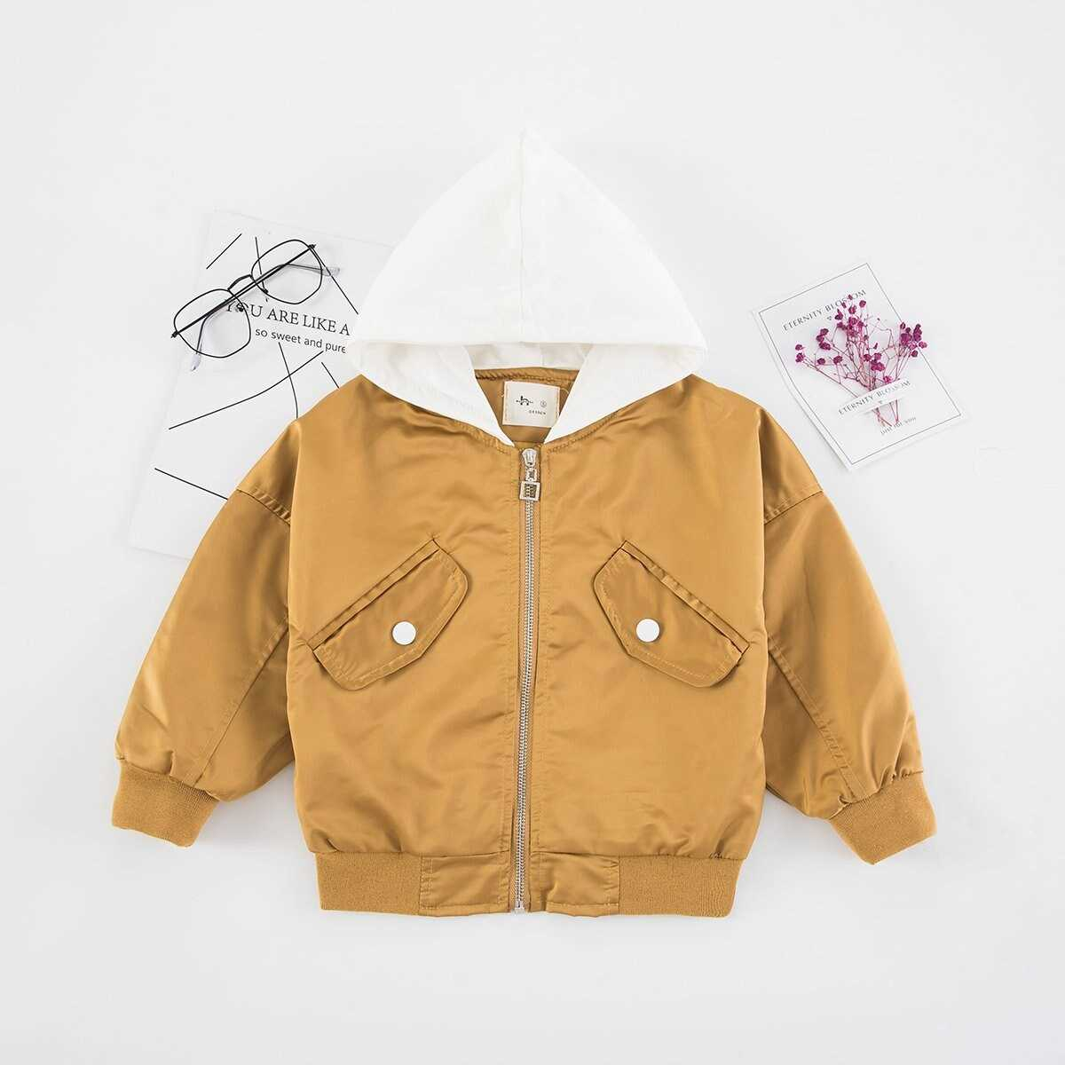 Girls Embroidery Detail Hooded Jacket - Shein - GOOFASH