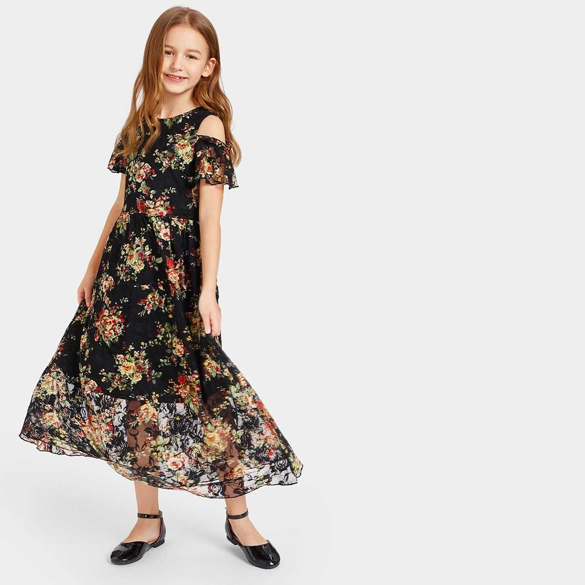Girls Open Shoulder Floral Lace Overlay Maxi Dress - Shein - GOOFASH