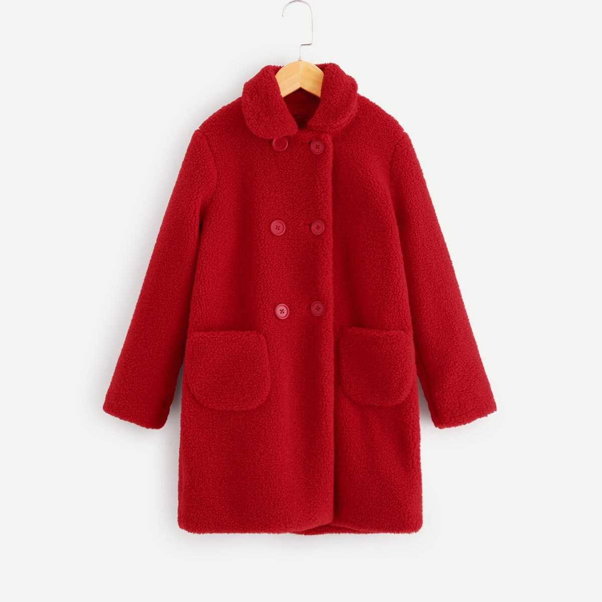Girls Pocket Front Double Breasted Teddy Coat - Shein - GOOFASH