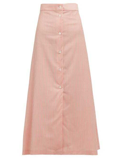Giuliva Heritage Collection - The Camelia Striped Wool Midi Skirt - Red Red - Matches Fashion - GOOFASH