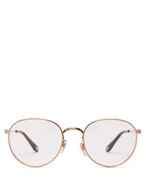 Givenchy - Rivet Effect Round Metal Glasses - Gold Gold - Matches Fashion - GOOFASH