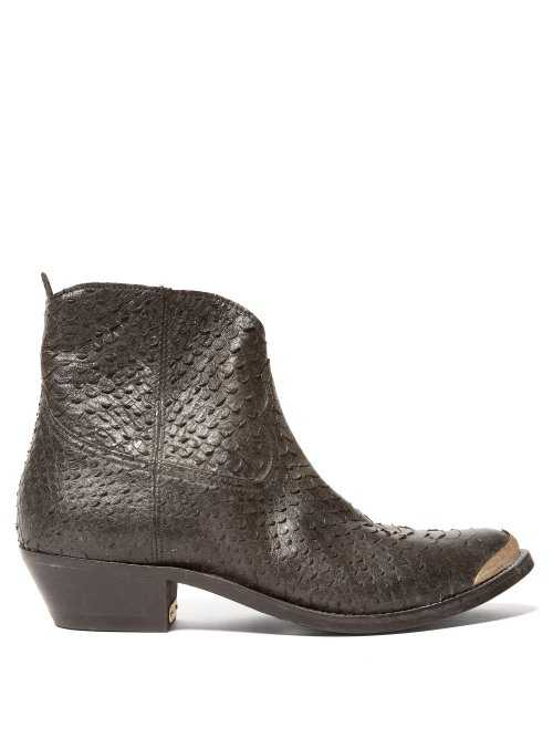 Golden Goose - Western Snake Effect Leather Boots - Black Black - Matches Fashion - GOOFASH