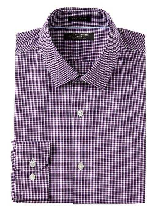 Grant Slim-Fit Non-Iron Stretch Check Shirt - Banana Republic - GOOFASH