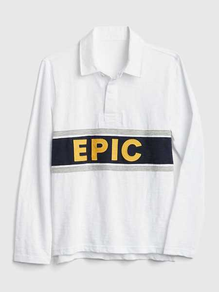 Graphic Long Sleeve Polo Shirt Shirt White - Gap - GOOFASH