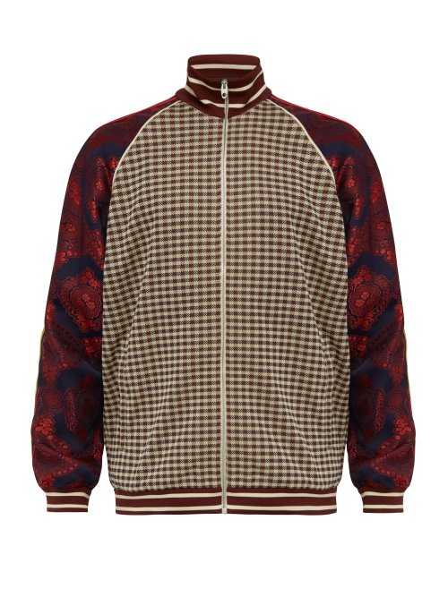 Gucci - Micro Check And Paisley Print Velvet Track Jacket - Brown Brown - Matches Fashion - GOOFASH