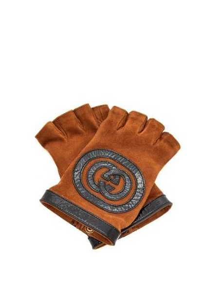 Gucci - Suede And Leather Fingerless Gloves - Brown Brown - Matches Fashion - GOOFASH