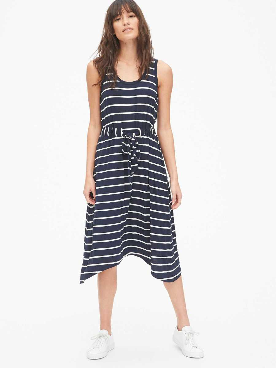 Handkerchief Tie-Waist Tank Midi Dress Navy Stripe - Gap - GOOFASH