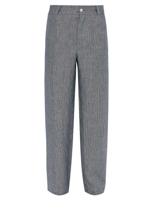 Hecho - Mid Rise Striped Linen Trousers - Blue Blue - Matches Fashion - GOOFASH